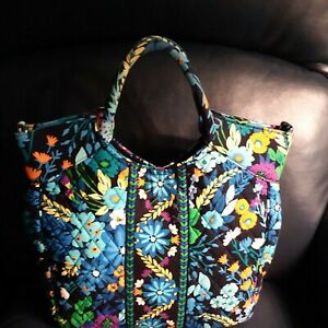 Vera Bradley Midnight Blues Two Way Tote 15x10x4 Large Purse Bag Magnetic close