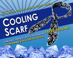 100 x NEW! NECK COOLING SCARF / COOLER WRAP - KEEP YOU COOL - BLUE 90cm x 5.5cm