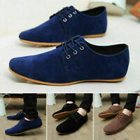 Men Casual Lace Up Suede Flats Loafer Sneakers Comfort Formal Shoes Size 6.5-9