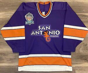 San Antonio Iguanas CHL Hockey Jersey Vintage 90s 1997 Bauer Retro Purple Texas