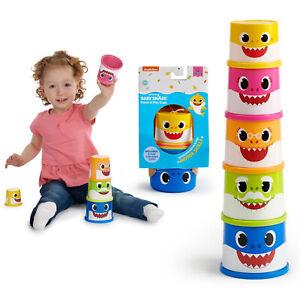Baby Shark Stacking Cups Blocks Set of 5 Toddler Kid Motor Skill Game Toy Fun UK