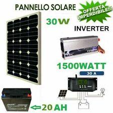 Kit pannello solare fotovoltaico 30W Regolatore 30A Batteria 20ah 12vlt 0,5 kw