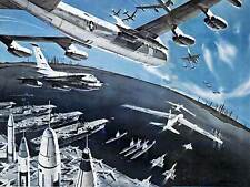 VINTAGE ILLUSTRATION WAR PLANES US AIRCRAFT CARRIERS FINE ART POSTER CC5032