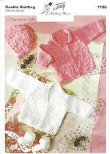 VAT Free Hand Knitting PATTERN Teddy Baby Cardigans Bonnet Hat Socks DK New 7195