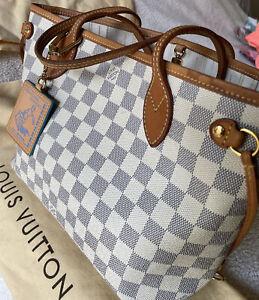 Authentic Louis Vuitton Neverfull Pm Shoulder Bag Damier Azur