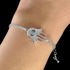 w Swarovski Crystal Jewish Hamsa Hamesh Fatima Hand Blue Evil Eye Charm Bracelet