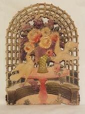 Large Antique Embossed Diecut Calendar Topper Floral Doves
