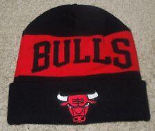 NBA Chicago Bulls  Beanie Stocking Cap-Black & Red