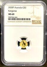 2020 Australia $2 Kangaroo Mini Roo 0.5 gram .9999 Gold Coin - NGC MS 69