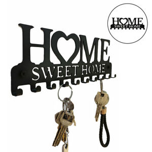 Key Holder 10 Hooks Hat Rack Kitchen Wall Ornament Home Entryway Decor Black