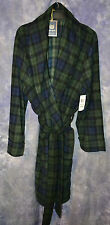 NWT $70 Club Room Men's Blackwatch Plaid Shawl Collar Fleece Robe Green & Navy