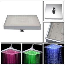 "Contemporary Chrome 8"" LED Colour Changing Shower Head 12"" Square Bathroom Nice"