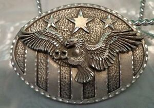 Men's Belt Buckle Eagle Stars Metal USA