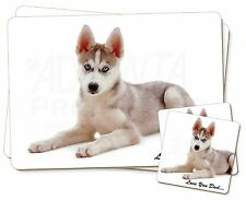 Siberian Husky Dog 'Love You Dad' Twin 2x Placemats+2x Coasters Set in, DAD-51PC