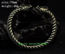 Chinese antique Miao Silver Handmade Twine Animal Dragon Head Duad Bracelets