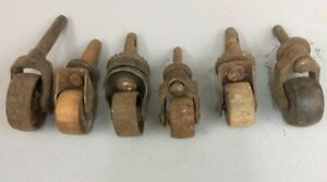 Lot of 6 Vintage Small Caster Wheels Wood Metal