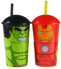 Set Of 2 Marvel Avengers Plastic Drinking Cups With Lid Straw - Hulk / Iron Man