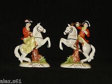 2 Royal München Porzellan Figur Figuren Jäger mit Horn und Jägerin auf Pferde