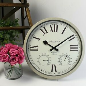 LARGE Grey Wall Clock with Temperature & Humidity Gauge. Ideal Conservatory Use.