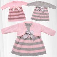 Mädchen Bekleidungsset 2-teilig Baby Kleid Jacke Schleife Strick Kombi Gestreift