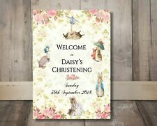 Personalised Beatrix Potter Peter Rabbit Pink Party Welcome Sign - A3