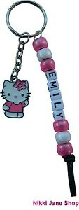 Personalised Name Hello Kitty Themed Keyring Charm