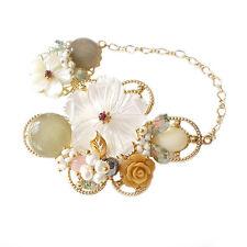 Chain Link Beaded Brooch Pin White Hanabe Korea Handmade Flower Mother of Pearl