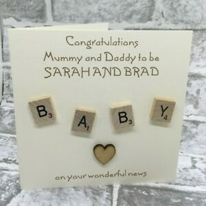 """Parents to Be Baby Congratulations 6"""" Scrabble Card Expecting Grandparents NEW"""