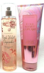 Bath Body Works Pink Velvet Cupcake fragrance mist spray & cream 2 pc set lot
