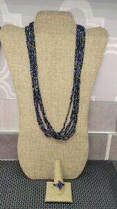 BLACK AURORA BOREALIS GLASS BEAD MULTI STRAND NECKLACE & FASHION RING