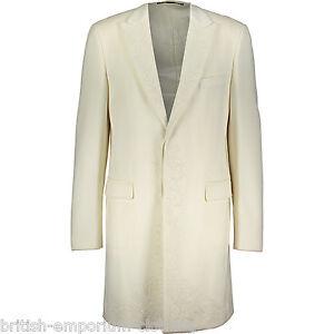 JOHN RICHMOND Off White Embellished Wool Overcoat Coat Jacket Wedding NEW + TAGS