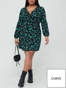 V By Very Curve Printed Jersey Wrap Dress Floral Print Green UK Size 20