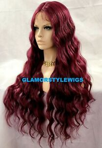 HUMAN HAIR BLEND 3 WAYS PART LACE FRONT FULL WIG LONG WAVY LAYERED BURGUNDY MIX