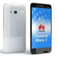 EAZY CASE Huawei Ascend Mate 7 Hülle Silikon Handy Schutzhülle + Schutzglas 9H