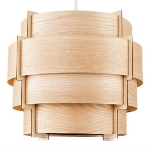 MiniSun Ceiling Light Shade - Modern Wooden Drum Lampshade Easy Fit Lounge Light