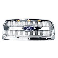 15-17 Ford F150 Raptor Conversion Chrome Mesh Grille w/Emblem Housing+Amber LED