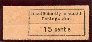 "Zanzibar 1929 KGV Postage Due 15c black/orange ""CENT.S"" for ""CENTS"" MNH. SG D8a."