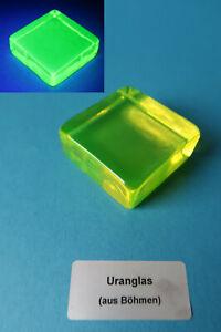 Uranglas Block, 50x50x20 mm, 100 Gr. - Prüfstrahler Geigerzähler, Uranium glass