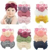 Girls Kids Baby Nylon Bow Hairband Headband Stretch Turban Knot Head Wrap New