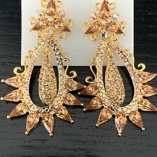 Luxury Statement Crystal Gold Dangle Drop Evening Prom Party Bridal Earrings