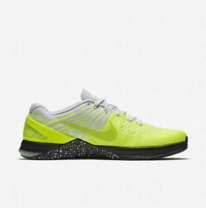 Nike Metcon DSX Flyknit UK 6 EUR 40 Volt Grey Black New 852930 701 Training