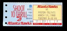 Basketball Ticket Atlanta Hawks 1990 Boston Celtics 3/13 Larry Bird