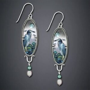 Unusual Bird Dangle Earrings Pearl Beads UK Seller Ethnic Boho Silver Vintage