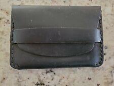 MAKR Black Flap Leather Card Case, Slim Wallet, Single Sleeve; USA
