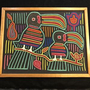 Vintage Framed Mola Colorful Tucan Birds South American Textile Hand Sewn 18x14
