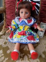 "19"" LISSI PUPPE # 126 BROWN HAIR BLUE EYES DOLL GIRL 3+ ORIGINAL CLOTHES"