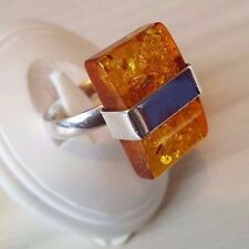 Baltic Amber ring 925 sterling silver size Q