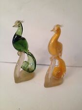 Pair of Barovier Murano Glass Birds