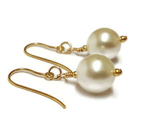 White Pearl Earrings in 9ct Gold, Large Round 10mm Pearls, A gift from the sea