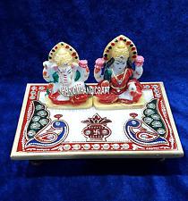 """2"""" Makrana Handpainted Diwali Gifts Marble Chowki Laxmi Ganesh Hindu Gods H4254"""